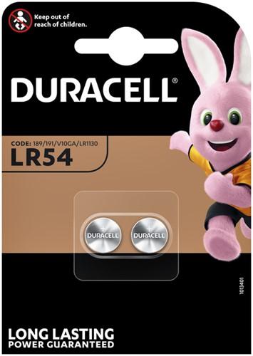 Batterij Duracell knoopcel 2xLR54 alkaline Ø11,6mm 2 stuks