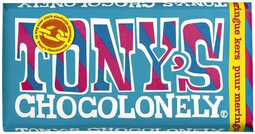 Chocolade Tony's Chocolonely reep 180gr puur meringue kers