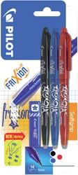 Rollerpen Pilot Frixion 0.35mm incl. stempel zwart/blauw/rood in blister