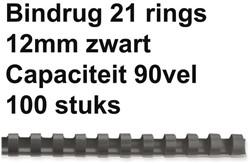 Bindrug Fellowes 12mm 21rings A4 zwart 100stuks