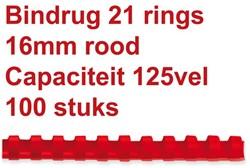 Bindrug Fellowes 16mm 21rings A4 rood 100stuks