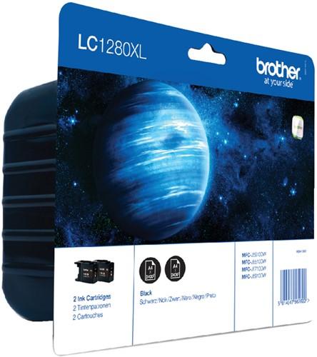 Inktcartridge Brother LC-1280XLBKBP2 zwart 2x HC