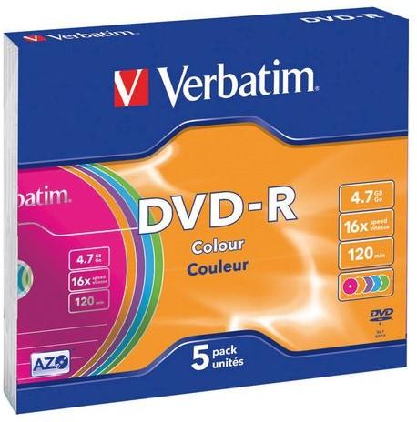 DVD-R Verbatim 4,7GB 16X Colour 5stuks