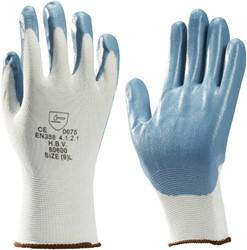 Handschoen grip Nitril foam wit/grijs smal