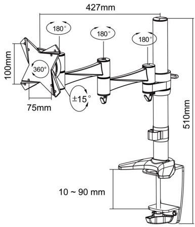 """monitorarm Newstar D1330 10-30"""" wit-3"""