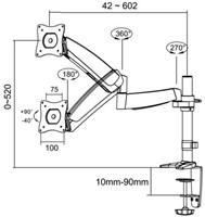 "Monitorarm Newstar D950 10-30"" met klem zilvergrijs-3"
