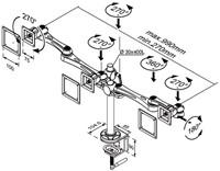 "Monitorarm Newstar D930D 2x10-30"" met klem zilvergrijs-3"
