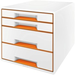 Ladenblok Leitz WOW 4 laden wit/oranje