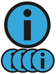 Magneet info 5cm lichtblauw
