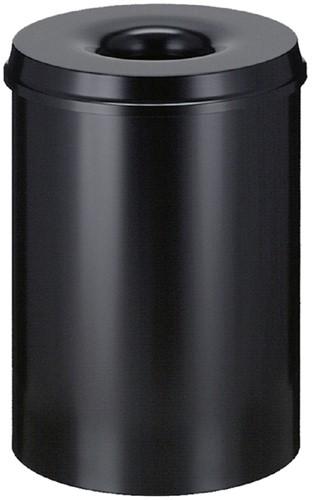 Papierbak met vlamdover Vepabins 30liter 33.5cm zwart