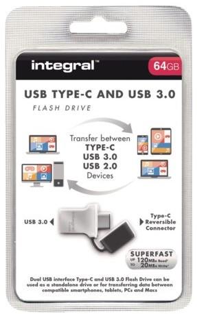 USB-Stick 3.0 Integral + type C 64GB-1