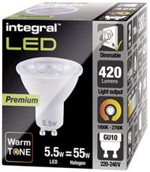 Ledlamp Integral GU10 5,5W 1800K ultra warm licht 420lumen