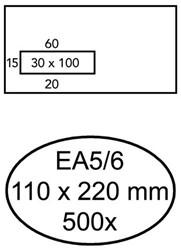 Envelop Quantore 110x220mm venster 3x10cm links zelfkl 500st