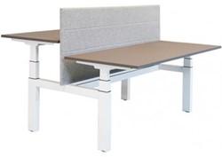 Project duo-bureau recht - H-Frame - elektrisch verstelbaar 62 - 130 cm - inclusief kabelgoot