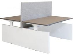 Project duo-bureau recht - met zijwangen - elektrisch verstelbaar 62 - 130 cm - Inclusief kabelgoot.
